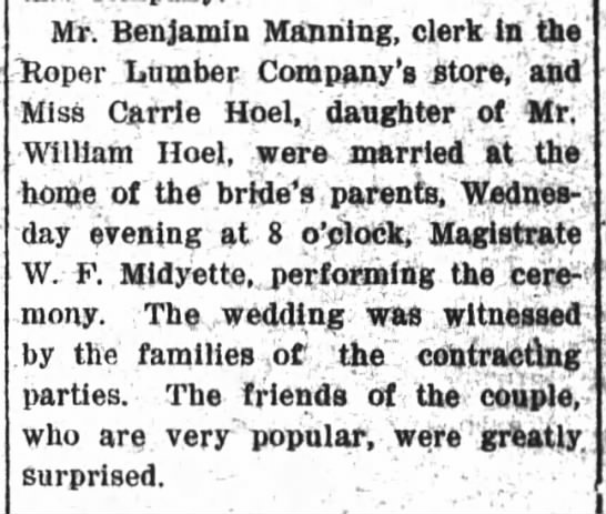 Benjamin Manning and Carrie Hoell wed 1907