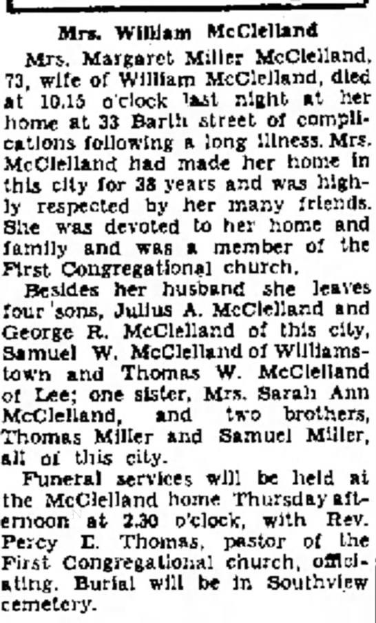 Obit of Margaret Miller McClelland 5/10/1938