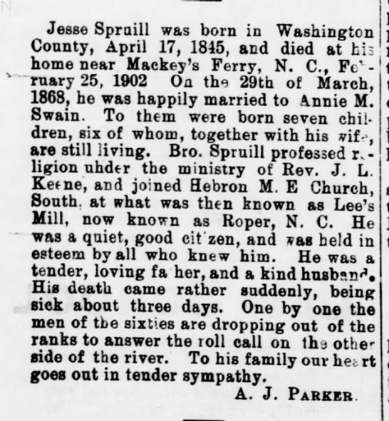 Jesse Spruill-NC Christian Advocate,Greensboro,NC-16 April 1902 pg.8