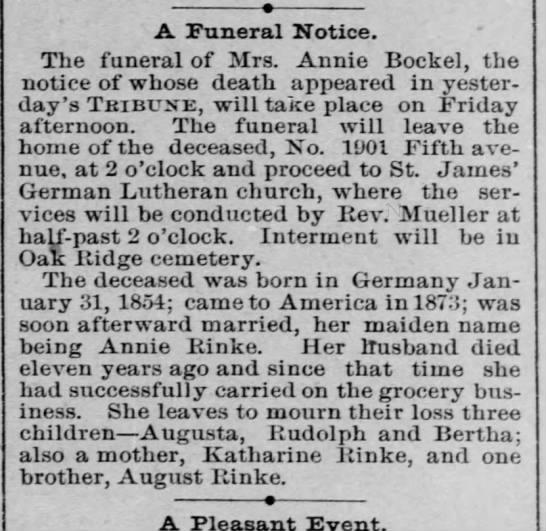 Annie Rinke Bockel - wife of Georg Bockel - Obit