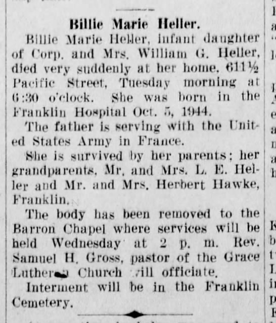 Obituary for Billie Marie Heller_1945
