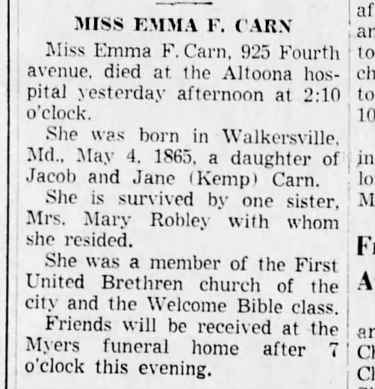 Emma Carn obit-Altoona Tribune-22 Dec 1947 p16