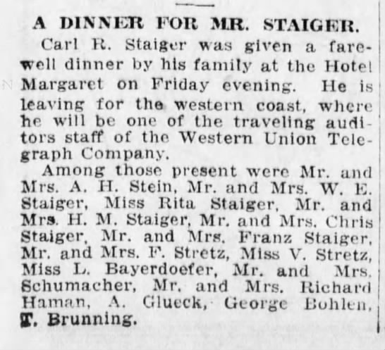 Staiger, Carl R, Mr and Mrs Franz Staiger