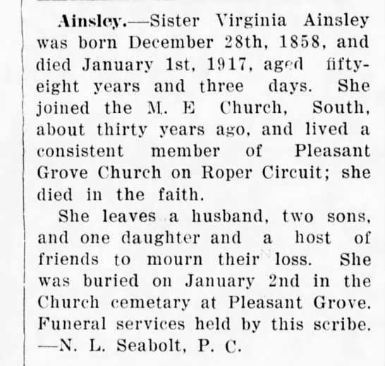 Ainsley-Pleasant Grove,NC