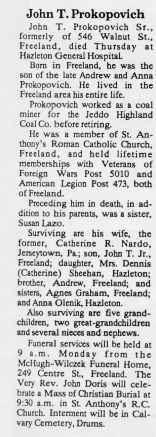 John T Prokopovich Obituary 6 January 1994