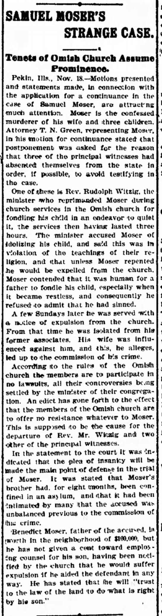 Decatur Illinois Moser case 11.19.1900