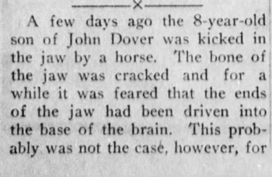 John Dover son Kicked by horse. 1st part