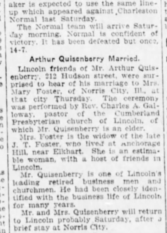 Quisenberry, Arthur & Foster Marriage