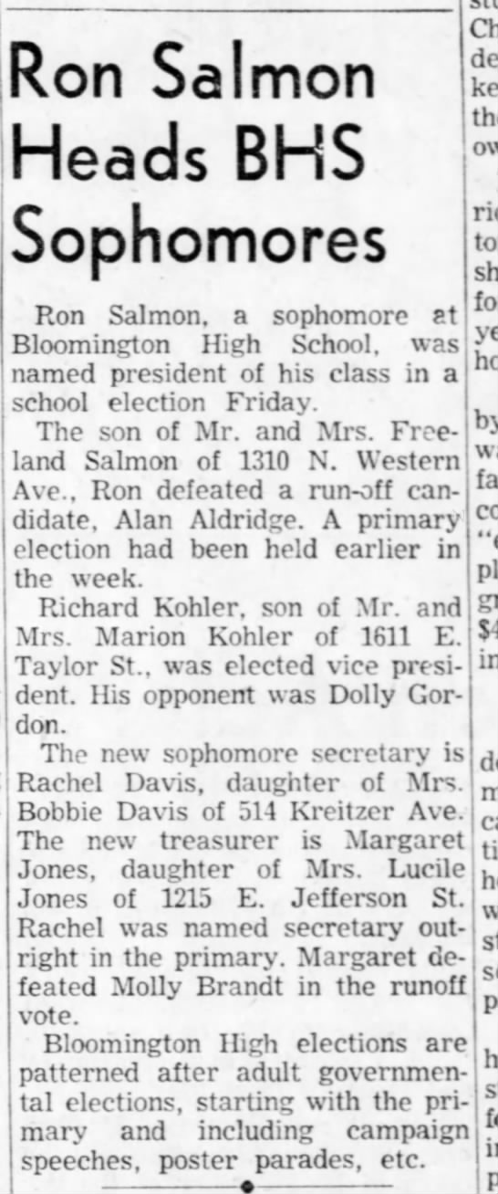 Ron Salmon, Son of Freeland Salmon, in high school election in Bloomington IL