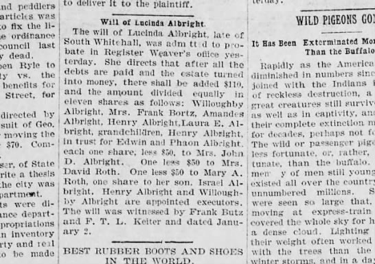 Lucinda Albright (Henry Albright) 17 Nov 1897 Allentown Leader