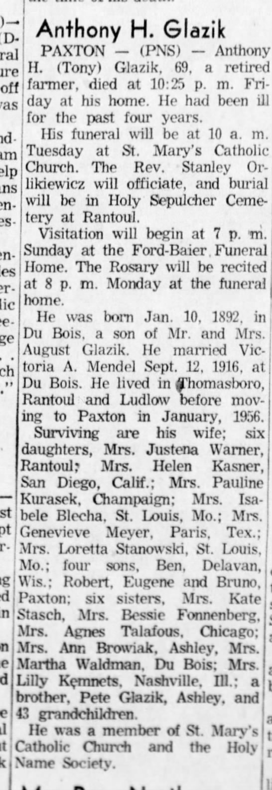 Anthony Glazik Obit  14 May 1961  Sun