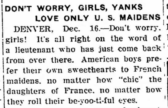 """""""Don't Worry, Girls, Yanks Love Only U.S. Maidens"""""""