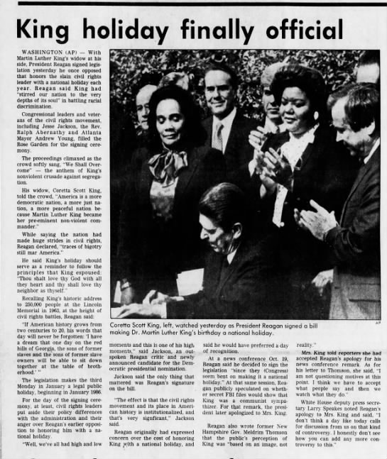 Nov 1983: Pres. Regan signs legislation creating national holiday for M.L. King Jr.