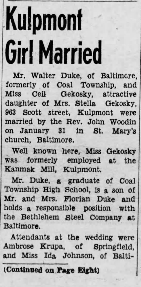 Walter Duke and Ceil Gekosky wedding announcement 1942