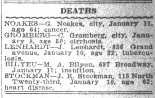 Gearge Noakes Death Jan 11 1909