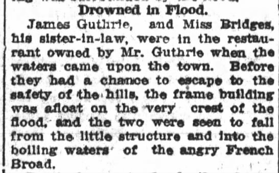 James H Guthrie and his sister-in-law Estelle Briggs drowned in flood.