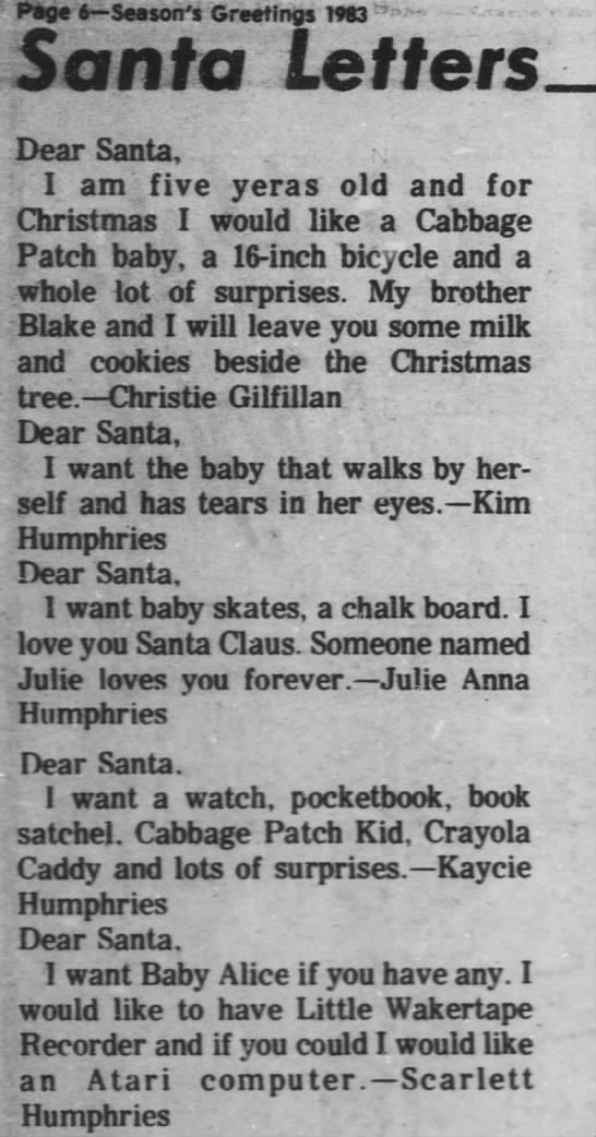 Yalls letters to Santa