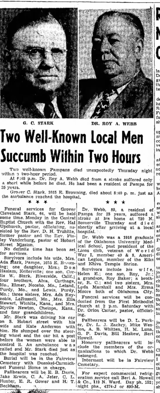 Death article_Grover Cleveland Stark_20 April1951_PampaTexas