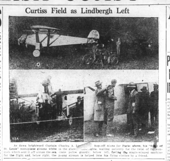 Spirit of St. Louis and Lindbergh prepare to leave New York