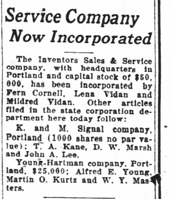 incorporates new company 1929