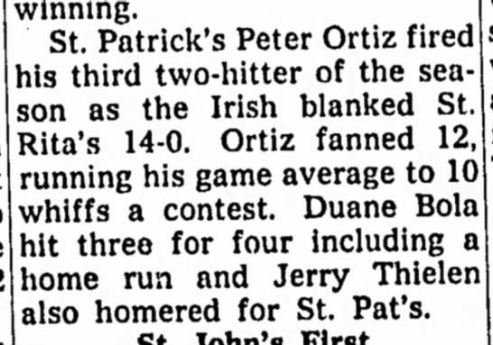 Jerry Thielen - Playing Little League for St. Pat's - Hits Home Run - August 1958