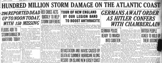 Headlines following 1938 New England hurricane
