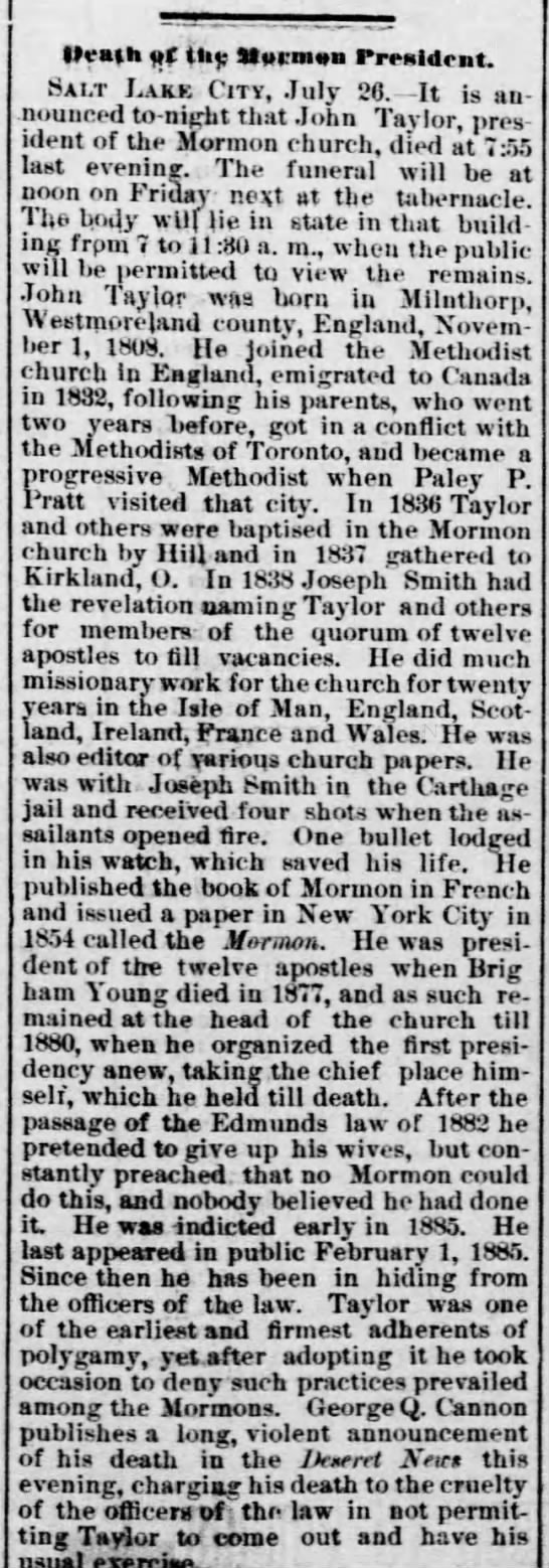 Death of John Taylor reported 30 July 1887 in Weekly Atchison Champion, Atchison, Kansas