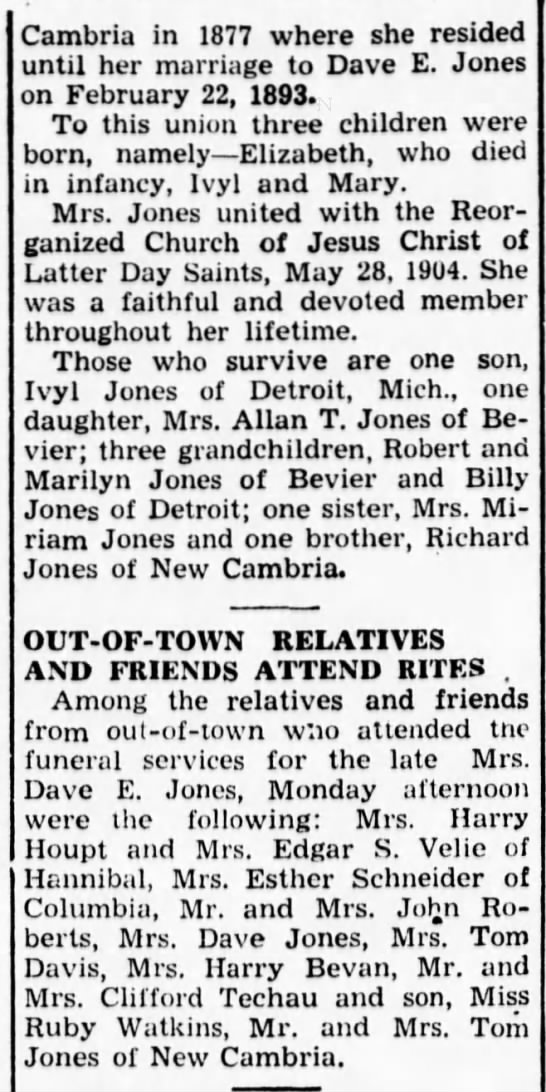 Macon Chronicle-Herald MO 1945 04-04 Wed Pg 03 David E Jones obit 2