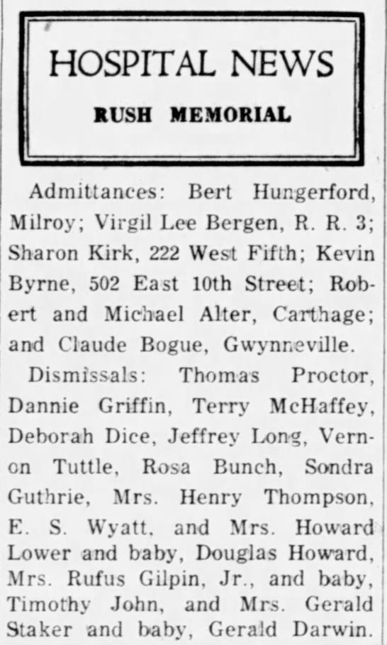 Hospital Announcement - Bert Hungerford.  Rushville Republican (Rushville, IN) 22 Jun 1959, Page 2