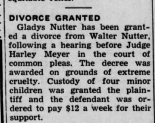 Walter & Gladys Nutter divorce notice May 1948