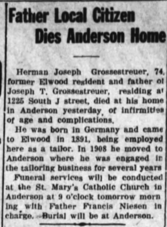Obit of Herman Joseph Grossestreuer