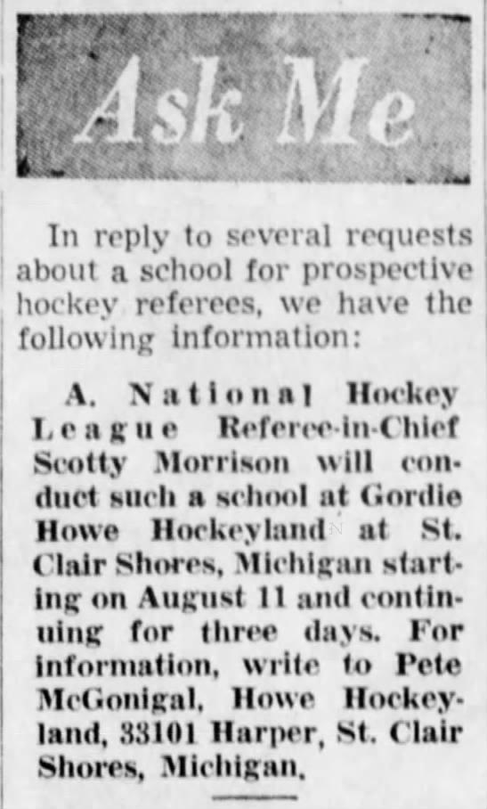 Hockey Referee School at Gordie Howe Hockeyland