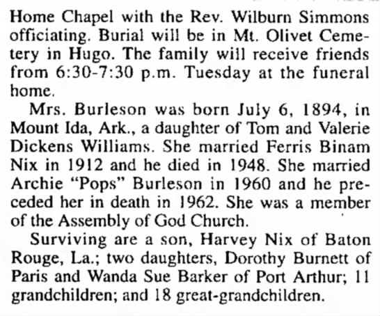 Cora Dell Williams Nix Burleson, part 2 12-6-1994
