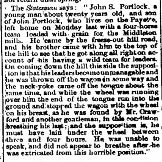 Morning Oregonian (Portland Oregon) Dec. 11, 1874 page 1