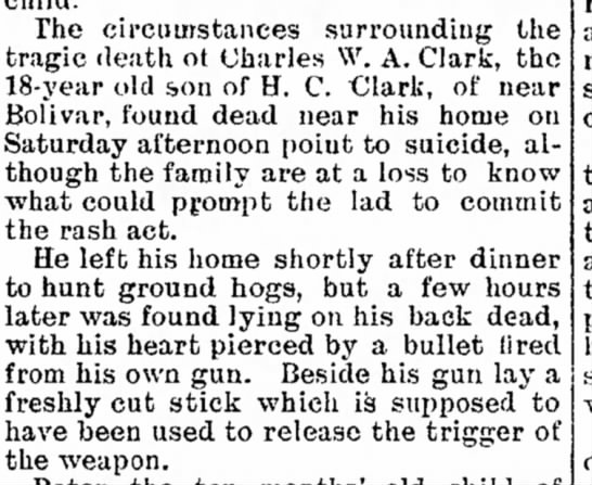 Death of Charles W. A. Clark