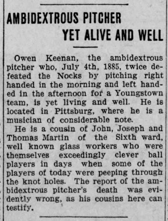 Owen Keenan Ambidextrous Pitcher Yet Alive and Well 1908