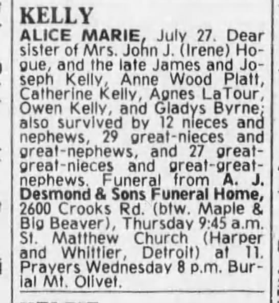 Alice Marie Kelly, daughter of Owen Kelly.  30 July 1980 Detroit Free Press.