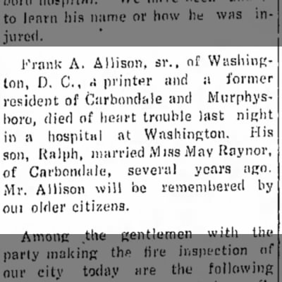 Frank A Allison, Sr.