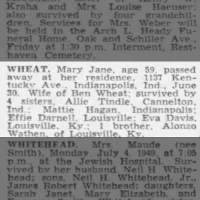 Wheat, Mary wife of Ben
