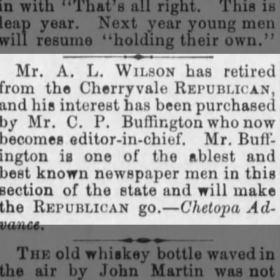 buffington buys paper 1888