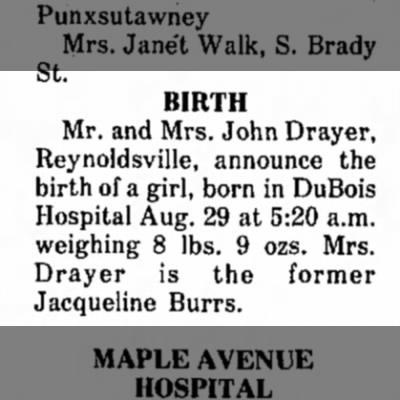 Birth AnnouncementFather; John Drayer 1974