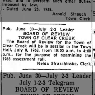 Nelda Straschinske - Board of Review Town of Clear Creek
