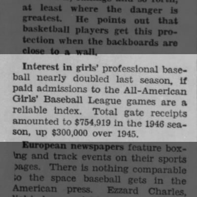 Paid admissions to women's professional baseball doubled in 1946 season