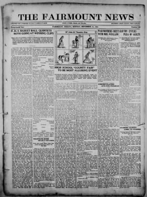 The Fairmount News from Fairmount, Indiana on November 14, 1921 · Page 1