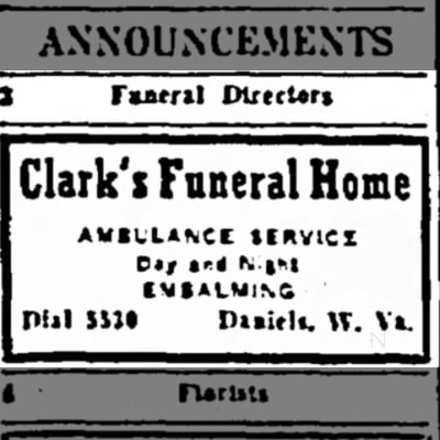 Grandpa Clark's Ad in the Raleigh Register Newspaper, 23 April 1943.