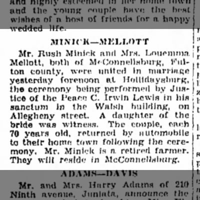 Rush Minick weds 2nd wife, March 1930-Altoona Mirror-p.20