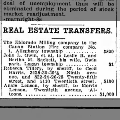 Another realty transfer from Anna to Morris- 13 November 1929