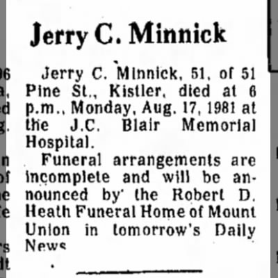 Jerry Minnick-Obit-TDN-page 2-18 August 1981