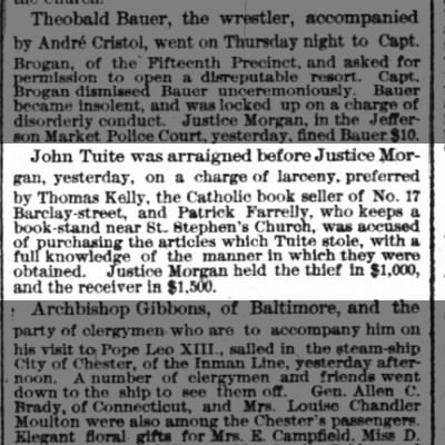 John Tuite Arrest 23 Apr 1880