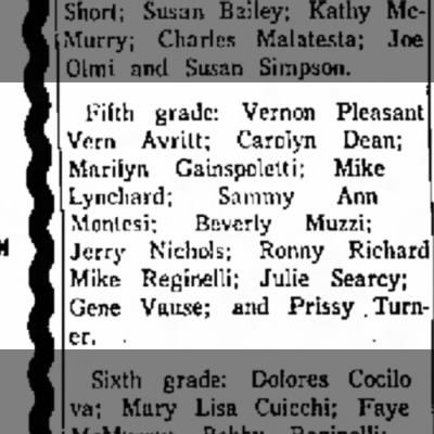 Mike Reginelli 5th grade announcement June 1965